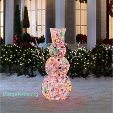 Gemmy 4 Ft Multicolor Lighted Frosted Vine Snowman Outdoor Christmas Yard Decor