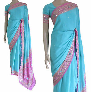 Party-Wear-Bollywood-Traditional-Light-Blue-amp-Pink-Floral-Work-Bridal-Saree-SALE