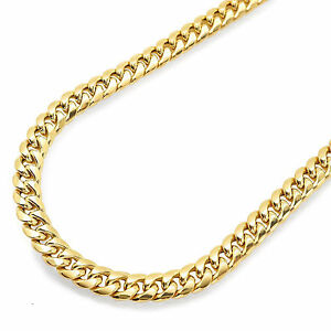 Mens 10K Yellow Gold 7MM Miami Cuban Link Chain Necklace HipHop