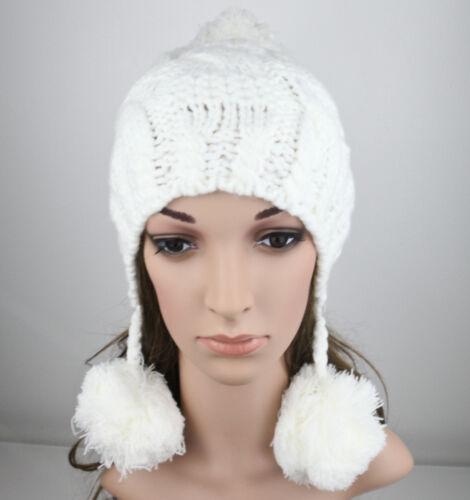 Ladies Thick Knitted Bobble BEANIE BRAIDS HAT Winter Women Girl Gift T17
