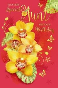 Aunt On Your Birthday Auntie Flowers Butterfly Design Happy Birthday