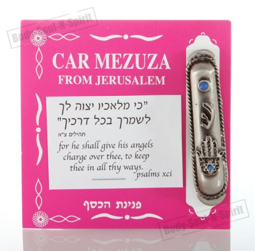 Silver plated car Mezuzah Mezuza Judaica Jewish Hamsa eye Israel kabbalah Gift