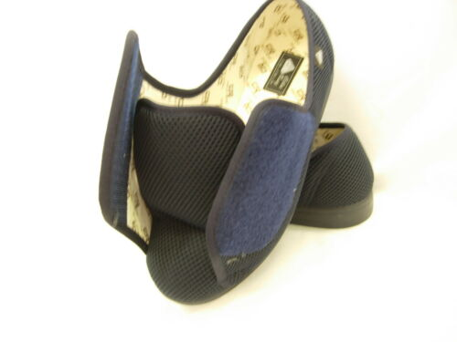 Extra Wide EEE Fit Adjustable Washable Care Home Slippers Ladies Gents Velcroish