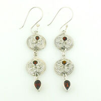 Sterling Silver Filigree Earrings with Faceted Garnets