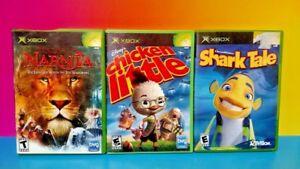 3-Disney-Games-Lot-Microsoft-Xbox-OG-Shark-Tale-Chicken-Little-Narnia-Bundle
