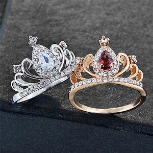 Princess Crown Design Ring Women Crystal Rhinestone Silver Plated Wedding RingCL - UK, United Kingdom - Princess Crown Design Ring Women Crystal Rhinestone Silver Plated Wedding RingCL - UK, United Kingdom