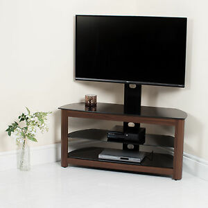 Walnut-High-Gloss-TV-Stand-Black-Glass-Wood-Wooden-Decor-32-37-40-42-46-50-52-55