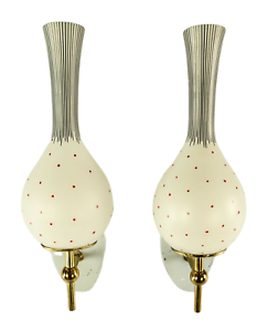 Paar-alte-Wand-Lampen-Italien-Top-Form-amp-Dekor-Glasschirme-Vintage-Wall-Lamps-50er