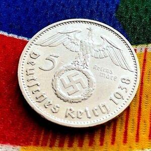 German-1938-E-5-Mark-WW2-Silver-Coin-Third-Reich-Swastika-Reichsmark
