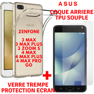 Coque-TPU-Film-Verre-Trempe-Vitre-Ecran-Protection-ASUS-ZENFONE-3MAX-4MAX-GO