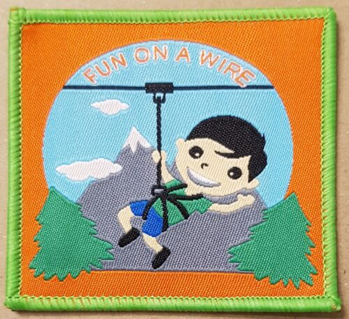 10 Fun on a wire zipwire Scout Cubs camp camping blanket badge patch badges
