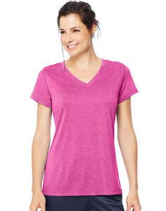 Hanes-Heathered-V-Neck-Tee-Sport-Womens-Performance-Cool-DRI-UV-Protection-Plain