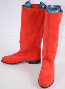 Tall Boots Sz 7 Red Suede Knee High