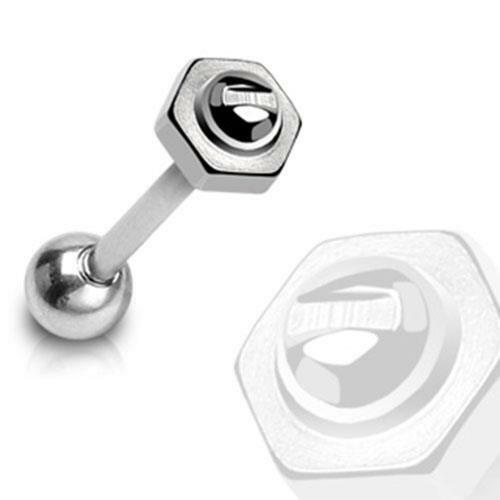 316L Surgical Steel Tongue Barbell with 6 mm Screw Top Bolt