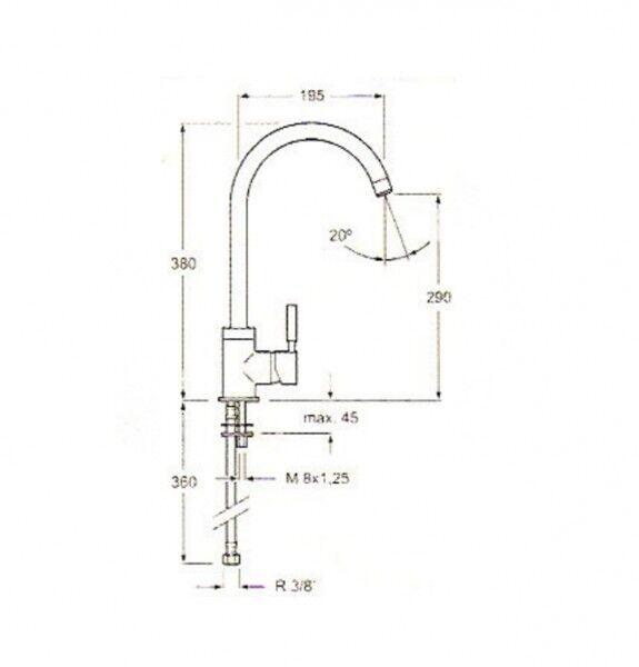 Mischarmatur Einhebelmischer 6957 Armatur Chrom NEU 6957 Einhebelmischer da7405