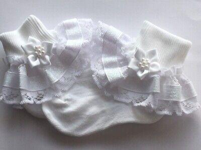 Acquista A Buon Mercato Handmade Bianco Luccicante Frilly Calzini Bambino/bambina Matrimonio Battesimo Baby Shower- Fabbricazione Abile