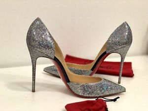 low priced a1037 fa29d Details about NEW Christian Louboutin Iriza 100 Glitter Disco Ball Shinny  Holographic Heel 37