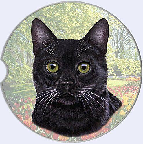 E/&S Pets Absorbent Stone CAR Coaster-Black Cat