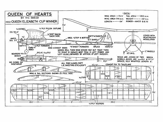 AMCO Queen of Hearts Full Size Balsa Model Airplane Kit Printed Plans 76in Span