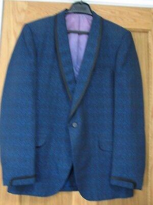 """100% Vero Vintage 60s Savile Row Meraviglioso Speckled Blue Man's Giacca Taglia 40"""" Petto-"""