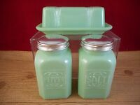 3 Pieces Depression Style Glass Jade Jadeite Glass Butter Dish Salt Pepper Set