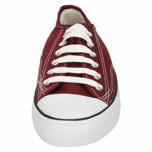 GIRLS BOYS UNISEX SPOT ON CANVAS LACE UP CASUAL BASEBALL TRAINERS SHOES X0001