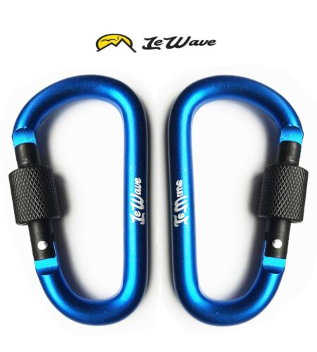 Screw Lock -Superior Clips BLUE LeWave Set of 2 Carabiners D-Ring Hooks