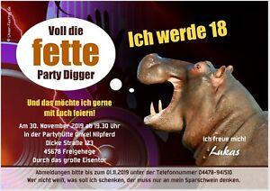 Lustige Geburtstagseinladung Fette Party Digger 18 Jahre Und Jedes