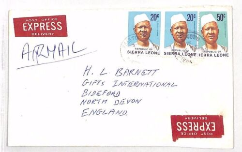 XX102 1984 SIERRA LEONE Freetown GB Devon Airmail Cover EXPRESS