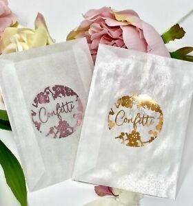 Confetti Heart Stickers Glassine Bag foil wedding Rose Gold,Pink Silver 10