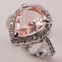 Morganite White Topaz Silver Gemstone Jewelry Ring Size 6 7 8 9 10 F612
