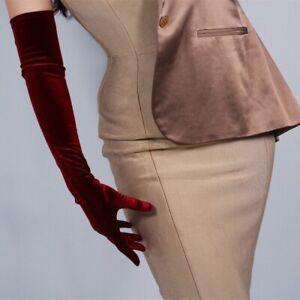 Ladies Velvet Gloves Wrist Stretch Long Evening Opera Party Black Retro New