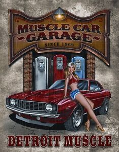 metal sign vehicle pin up muscle car garage new | ebay