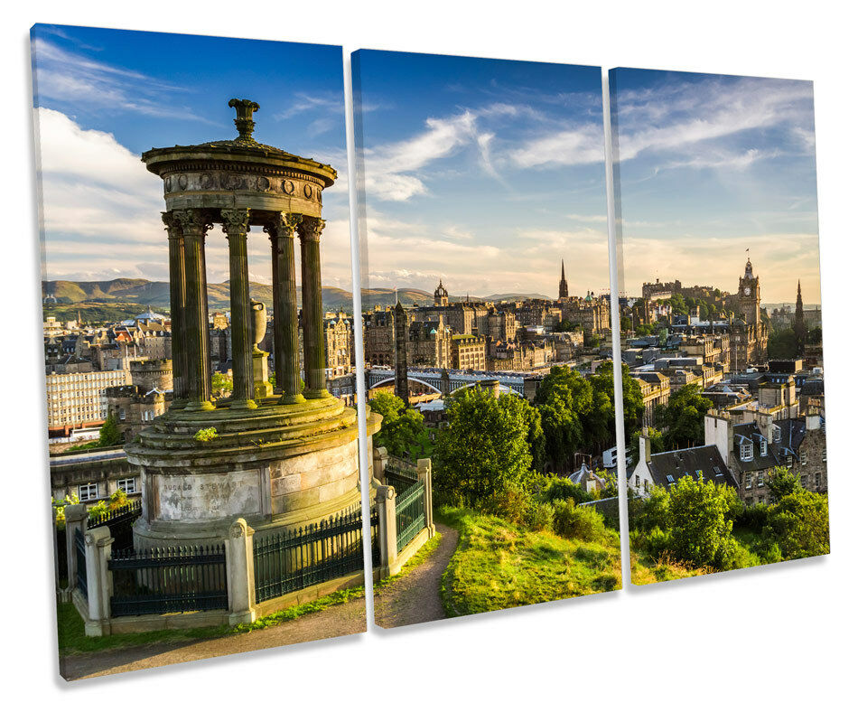 Edinburgh Cityscape Scotland TREBLE CANVAS WALL ART Box Framed Picture