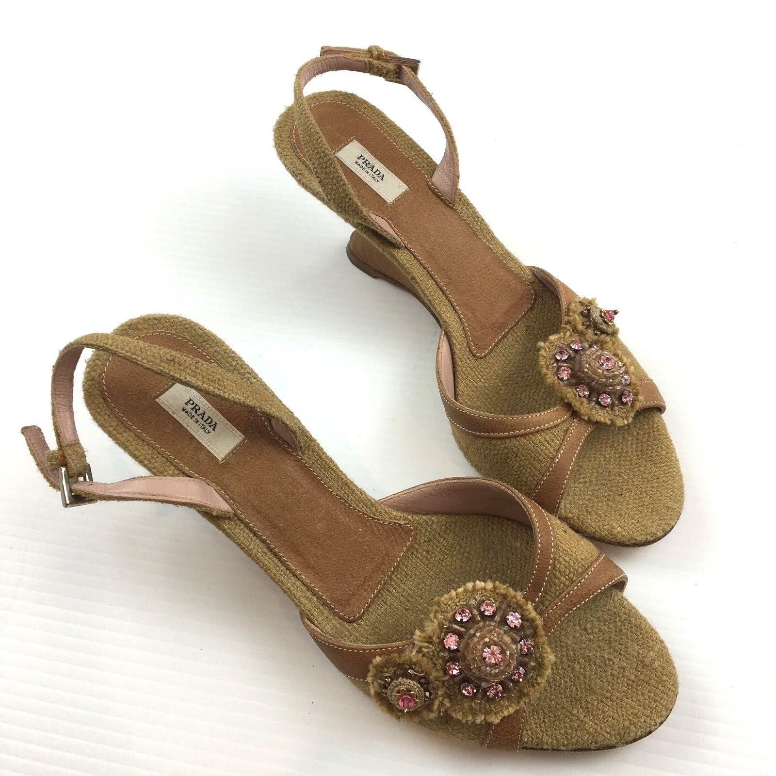 Prada Sandalias Beige Lona Cuero Tacón Con Plataforma Peep Toes Zapatos EU37.5 US 7