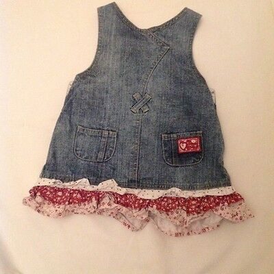 Active Denim Tab Top Dress 1 Year Old M Mouse Make Cotton Floral Frill Embroidered.