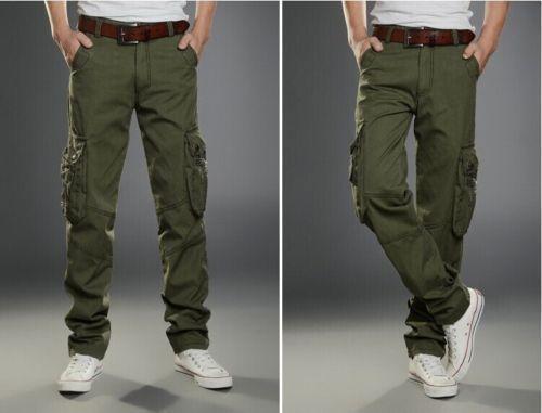 Men Cargo Military Combat Pants Muti-Pockets Comfort Straight Leg Trousers 28-40