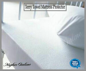 New-Waterproof-Terry-Towel-Mattress-Protector-Fitted-Sheet-Bed-Cover-All-Sizes