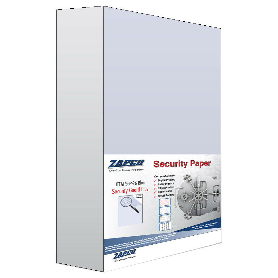 Security Paper  blueE  Item SGP-26  24lbBOND  500 Sheets  8.5  x 14