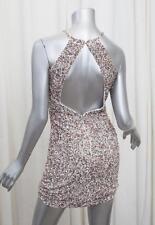 PARKER Womens White Blush Sequin Halter Sleeveless Back Cutout Dress S NEW NWT