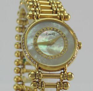 Vintage-Piaget-Damenuhr-Quartz-750-18k-Gelbgold-mit-68-Brillanten-Diamanten