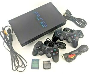 SONY PS2 PLAYSTATION 2 FAT CONSOLE SCPH-39001 2 CONTROLLERS, CORDS & TRAVEL BAG!