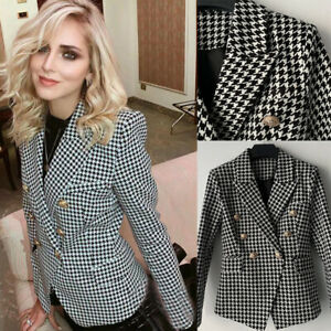 Houndstooth-Women-Suits-Double-Breasted-Ladies-Plaid-Coats-Slim-Fit-Business-New