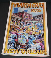 VINTAGE 1986 MARDI GRAS POSTER - EXCELLENT CONDITION - FREE SHIPPING