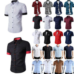 huge selection of 42634 75b2e Details zu Herren Hemd Kurzarm Hemden Freizeit Kragen Business Sommer Tops  Shirts Slim-Fit