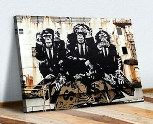3 WISE MONKEYS BANKSY  CANVAS WALL GRAFFITI ART PRINT ARTWORK FRAMED POSTER