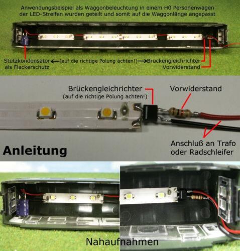 S544-10 Stück LED Waggonbeleuchtung 100mm weiß analog digital Bausatz