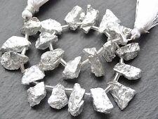 IRREGULAR COATED CRYSTAL QUARTZ DROPS, approx 9x14mm, 22 beads
