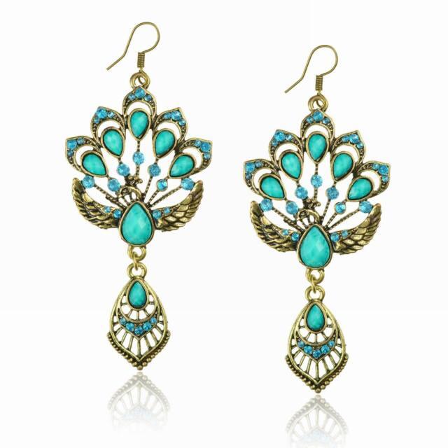Blue Vintage Copper Teardrop Peacock Rhinestone Crystal Bridal Resin Earrings