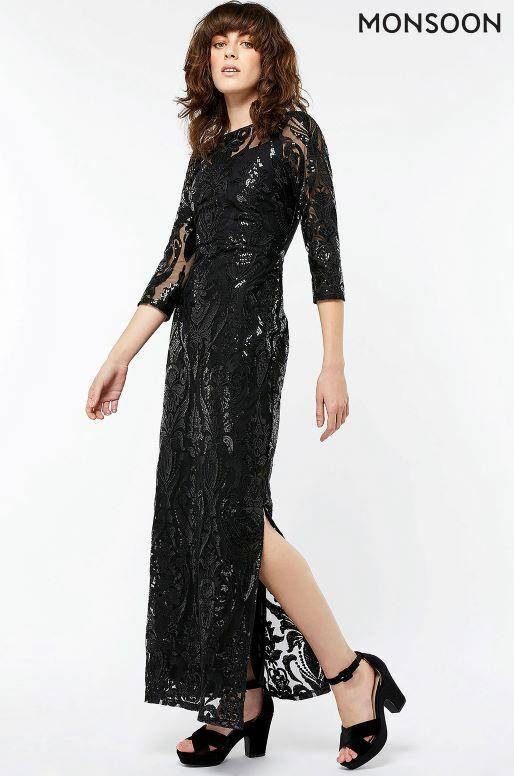 Bnwt Monsoon Selita Sequin Noir Long Soir Robe Longue Robe De Bal Taille 12 £ 129